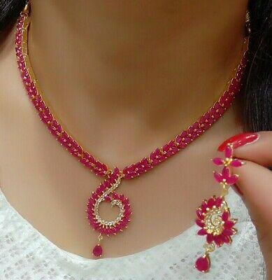 Gorgeous Statement Art Design Gemstone Pink Ruby Necklace Set .