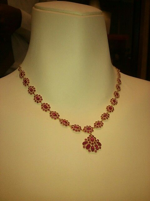 Lightweight ruby necklace in 9 gm | Ruby jewelry necklaces .