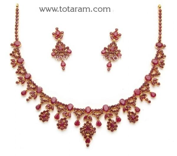 22K Gold Ruby Necklace & Drop Earrin