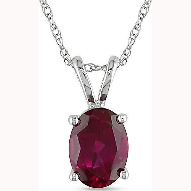 Shop Miadora 10k White Gold Created Ruby Necklace - On Sale .