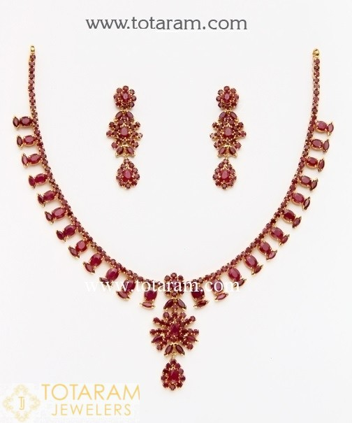 22K Gold Ruby Necklace & Drop Earrings - 235-GS1515 in 38.500 Gra