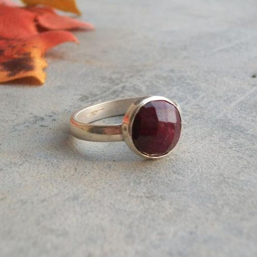 Buy Bezel set genuine ruby ring - Faceted round 925 sterling .