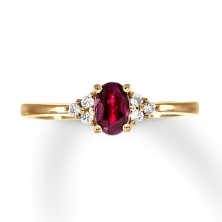 Natural Ruby Ring 1/15 ct tw Diamonds 10K Yellow Gold | Womens .