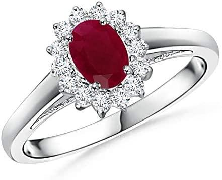 Amazon.com: Princess Diana Inspired Ruby Ring with Diamond Halo .