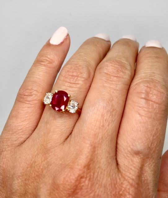 Burmese ruby ring with diamon