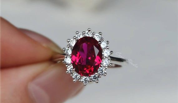 Royal Style Oval Ruby Ring Lab Ruby Engagement Ring/ Wedding | Et