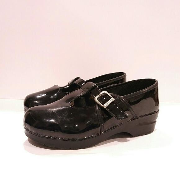 Sanita Shoes | Mary Jane T Strap Patent Leather Clog Mule | Poshma