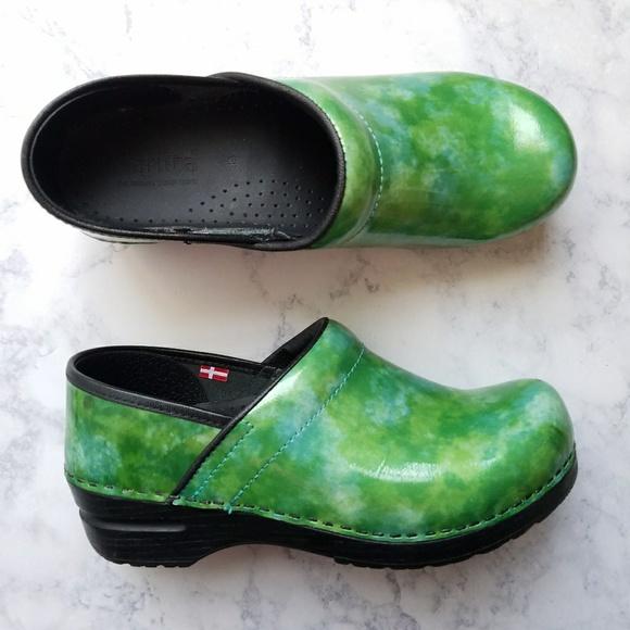 Sanita Shoes | Clogs Green Marble Patent | Poshma