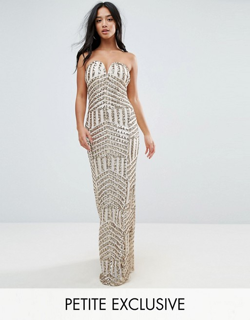 TFNC Petite Bandeau Sequin Maxi Dress | AS