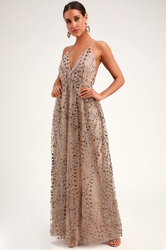 Luminous Night Taupe Glitter Sequin Maxi Dress in 2020 | Sequin .