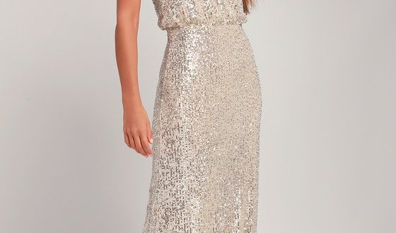 Stunning Sequin Maxi Dress - Silver Sequin Dress - Maxi Dre