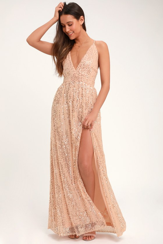 Fun Blush Pink Sequin Dress - Open Back Dress - Sequin Maxi Dre