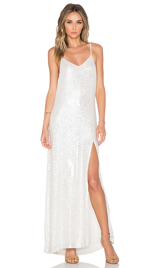 MLV London Sequin Maxi Dress in White | REVOL