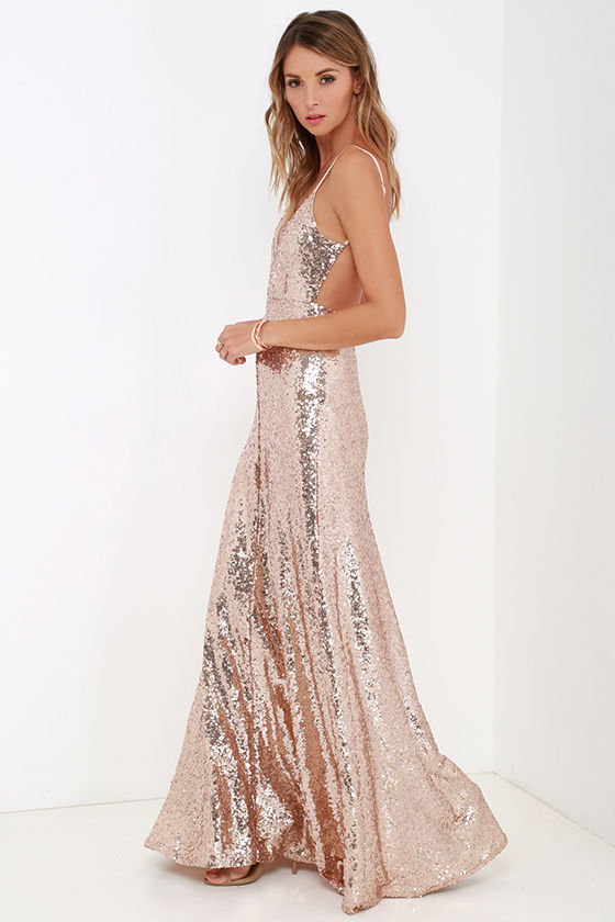 Beautiful Gold Maxi Dress - Sequin Maxi Dress - Backless Dress .