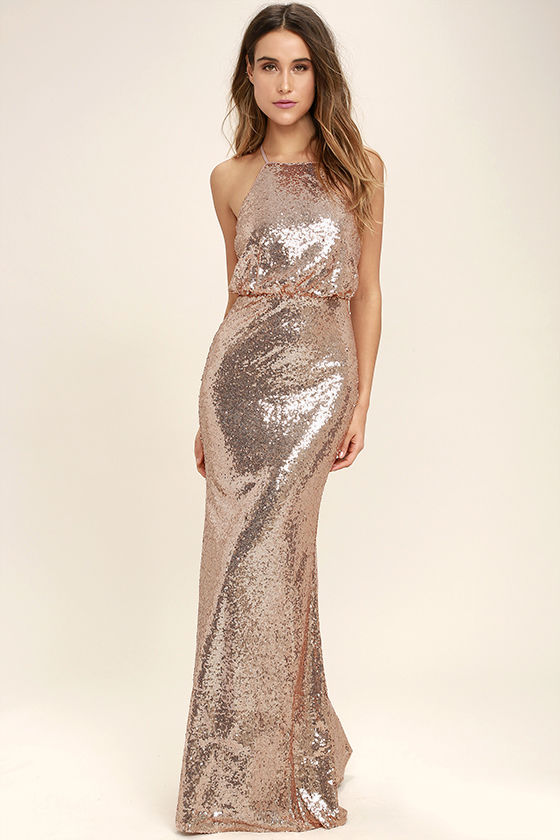 Lovely Rose Gold Maxi Dress - Sequin Maxi Dress - Sequin Mermaid .