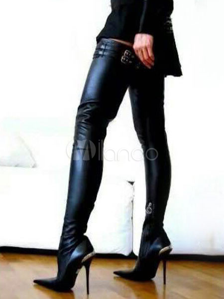 Black Thigh High Boots Women Sexy Boots Pointed Toe Stiletto Heel .