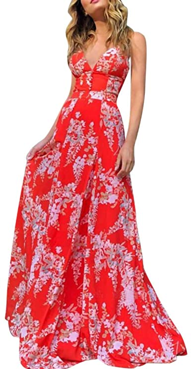 Amazon.com: Kaniem Women's Maxi Dresses Summer Sexy Deep V Neck .
