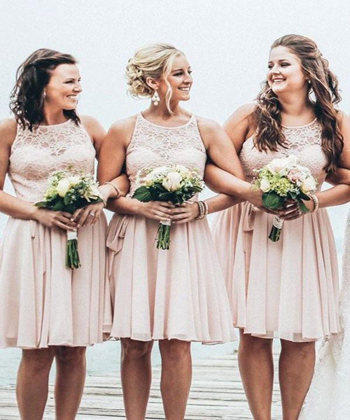 A-Line Light Pink Halter Chiffon Short Bridesmaid Dresses,WG071 .