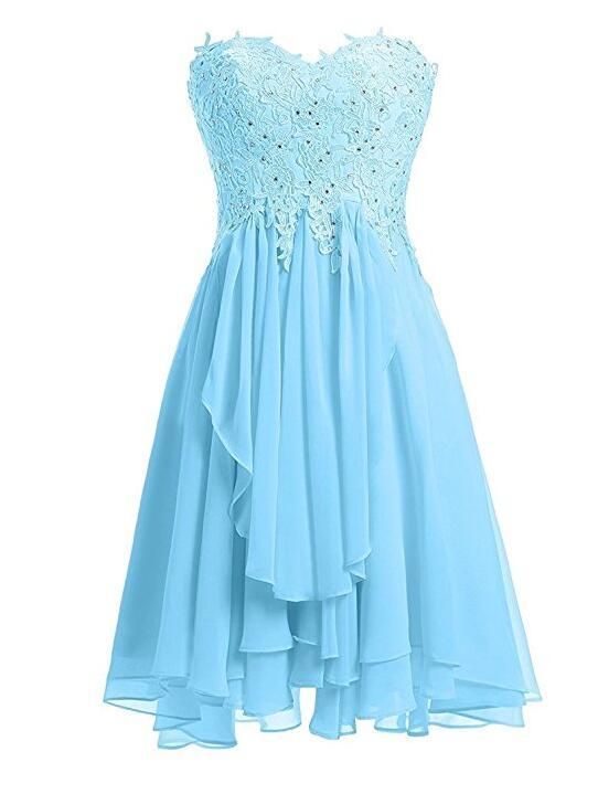 Light Blue Lace Applique And Chiffon Short Bridesmaid Dresses .