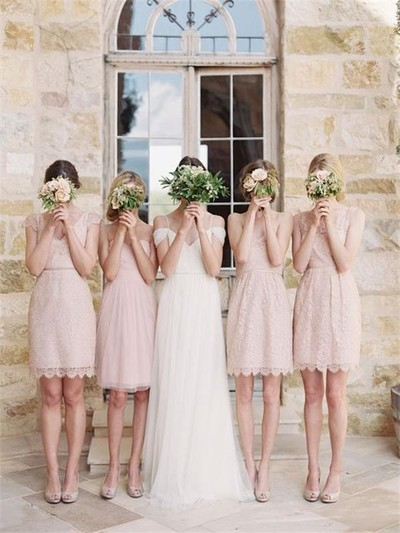 mismatched bridesmaid dresses, short bridesmaid dresses, lace .