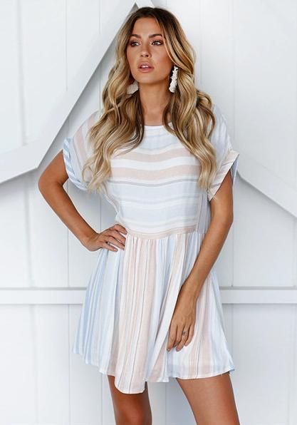 As Show Brief Cute O-Neck Short Sleeve Loose skirt Club Dress