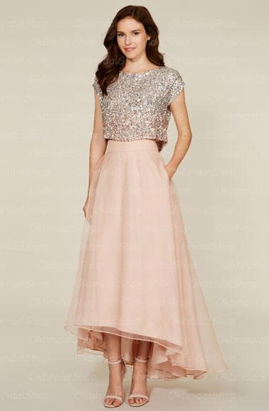 A365 2 pieces bridesmaid dresses, short sleeve blush pink .
