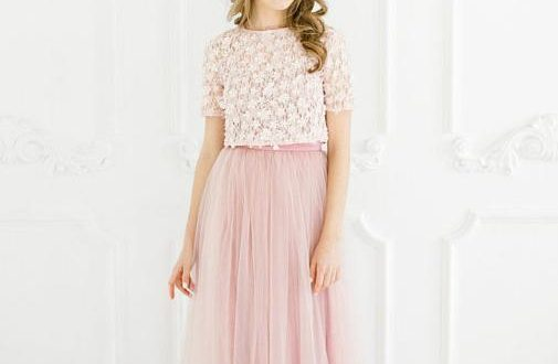Two Pieces A-line Scoop Prom Dress Lace Pink Short Sleeve Prom .
