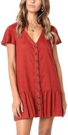Bagheat Women's Casual Short Sleeve Dresses V-Neck Button Up .