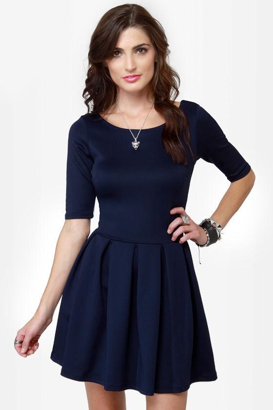Blue Short Sleeve Dress – Fashion dress