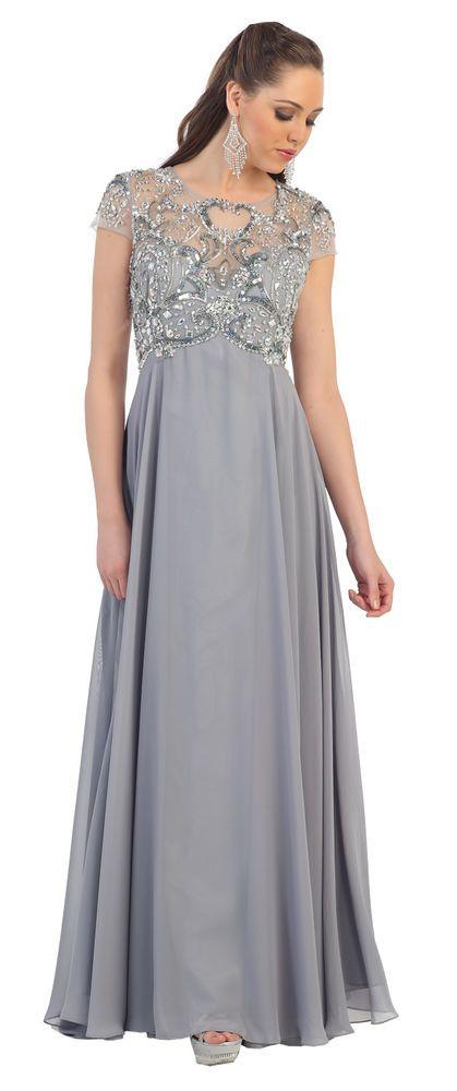 Fancy Long Short Sleeve Rhinestone Chiffon Mother of the Bride .