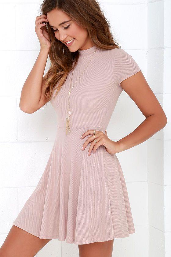 Endless Entertainment Blush Short Sleeve Skater Dress - Casual .