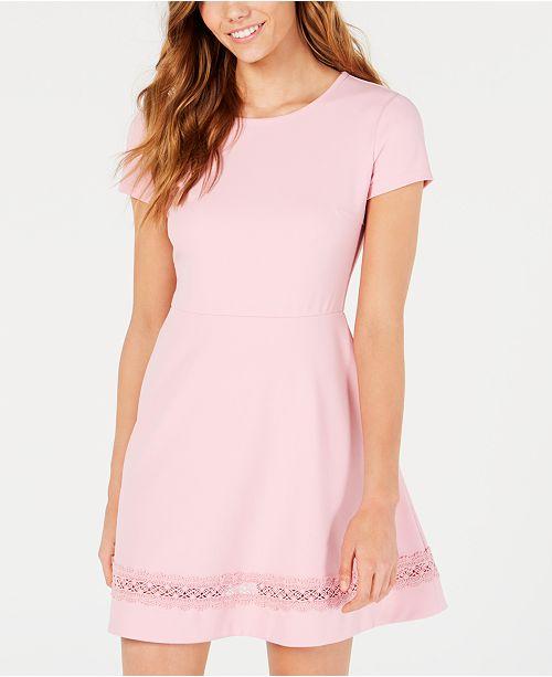 B Darlin Juniors' Short-Sleeve Lace-Trim Fit & Flare Dress .