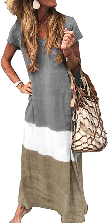 NORACORA V Neck Casual Short Sleeve Dresses at Amazon Women's .