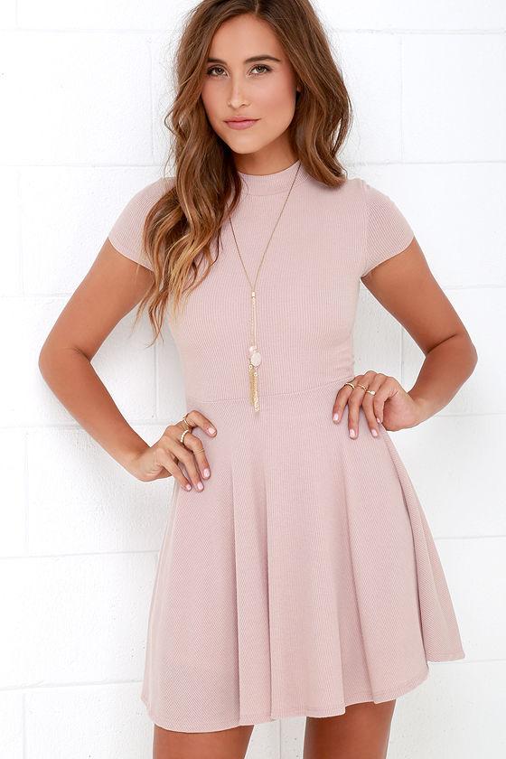 Blush Dress - Skater Dress - Fit-and-Flare Dress - Short Sleeve .
