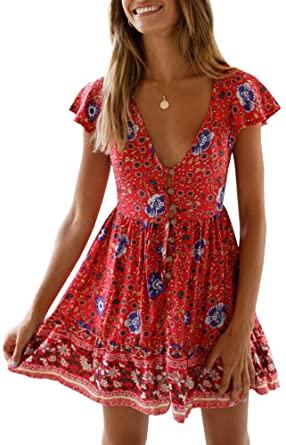 GAMISOTE Womens Floral Print Mini Dress V Neck Short Sleeve Boho .