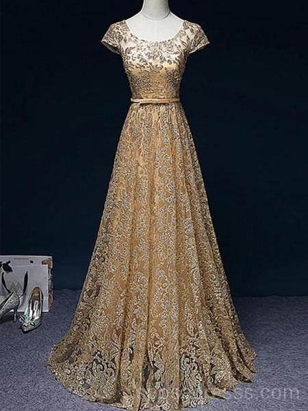 Sparkly Gold Short Sleeves Long Evening Prom Dresses, Cheap Custom .
