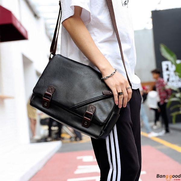 Men Black Messenger Bag PU Leather Business Shoulder Bag Casual .