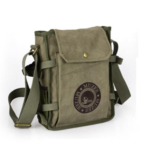 Mens canvas and leather shoulder bag, men's canvas satchel - BagsEar