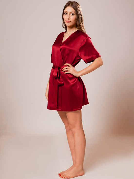Mulberry Silk Short Robe for Women $