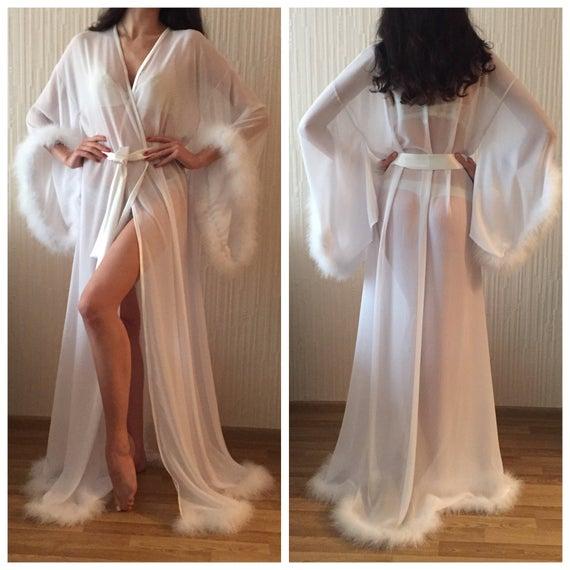 Marabou Long Silk Robe/ White Bridal Robe/ Silk Bridal Robe/   Et