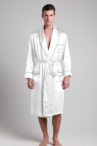 100-percent pure and soft white silk robes for men are made of 19 .