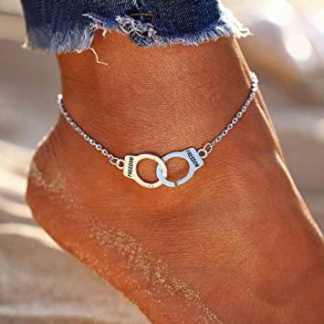 Amazon.com: Aluinn Handcuffs Anklet Bracelet Cute Silver Anklets .
