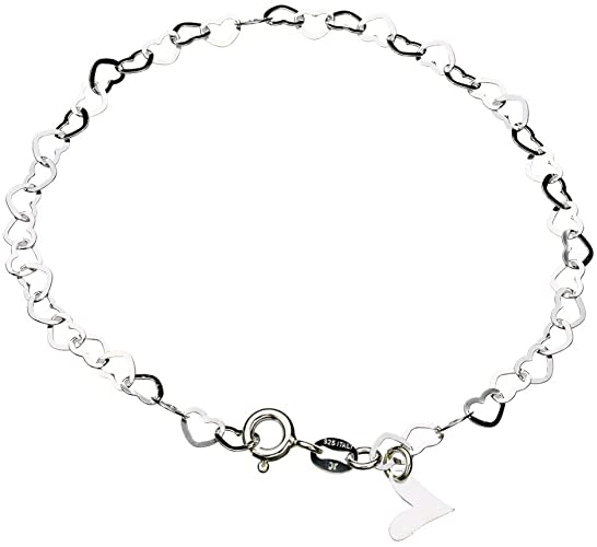 Amazon.com: Sterling Silver Flat Heart Link Charm Anklet Nickel .