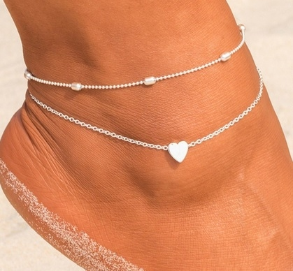 Set of 2 silver anklets with heart cha