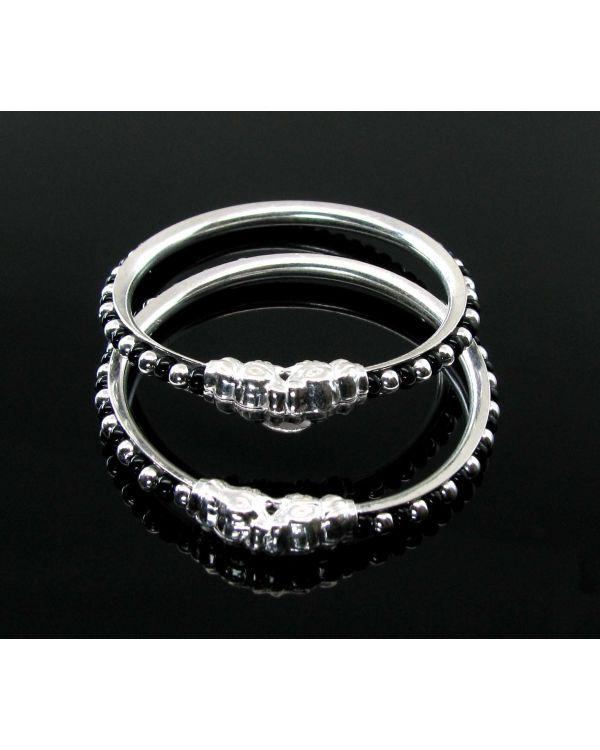 Elephant Face Black Beads Real Silver Kids Bangles Bracelet .