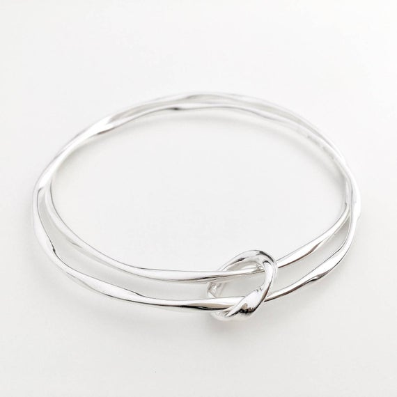 Two Oval Twisted Silver Bangles Handmade Sterling Silver | Et