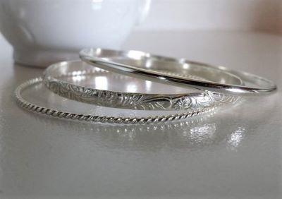 Dainty Wrist Jewelry - For small wrists. Triple Pleasure Sterling .