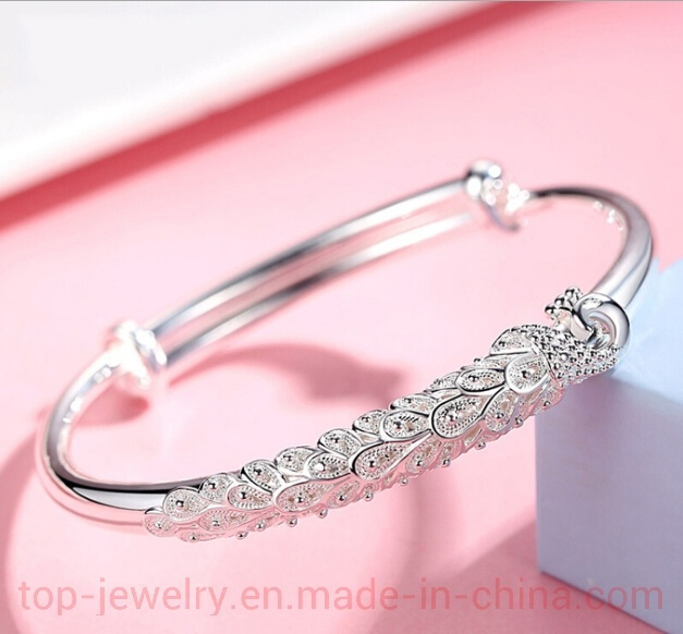 China Drawn Peacock Silver Bracelet Women′s Birthday Silver Push .