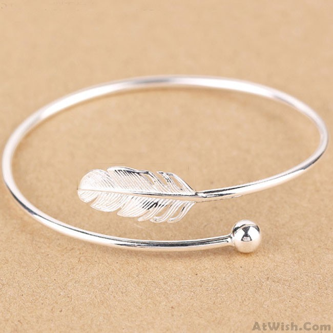 Fresh Women Silver Bangle Feather Simple Open Bracelet | Fashion .