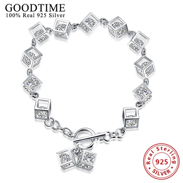 Trendy Bracelet 925 Sterling Silver Bracelets for Women Crystal .